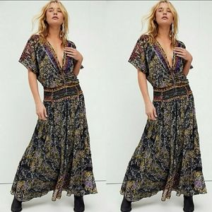 Free People Furnished Floral Maxi Dress Si…